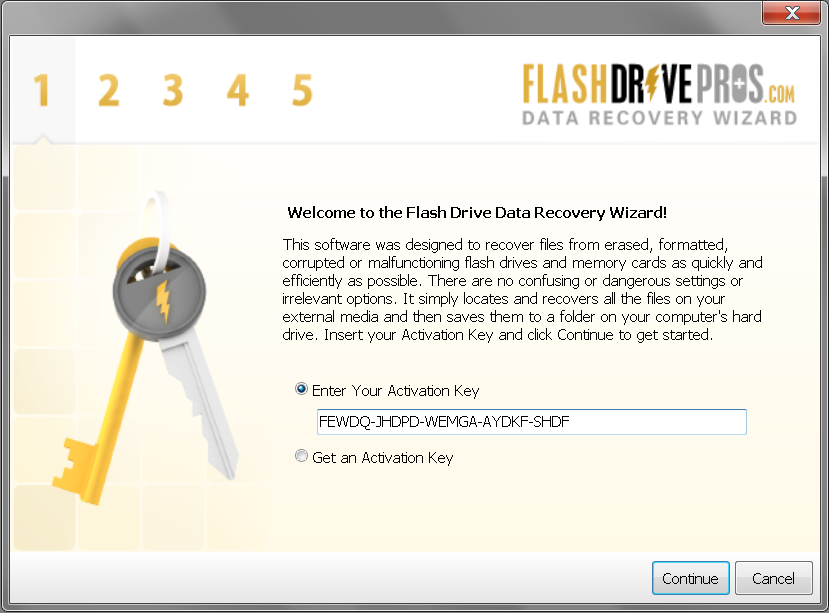 Flash Drive Data Recovery Wizard – Step 1