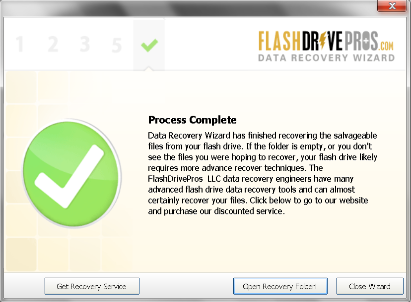 Flash Drive Data Recovery Wizard Process Complete